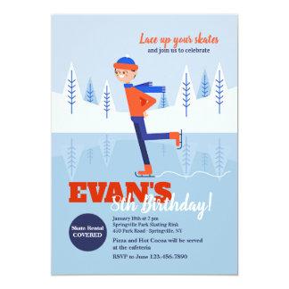 Convite do patinador de gelo do menino