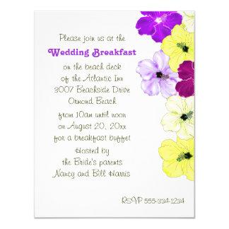 Convite do pequeno almoço do casamento da beira da