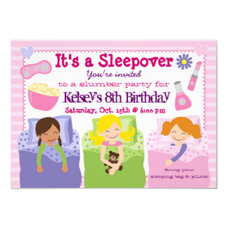 Convite do pijama do Sleepover do partido de