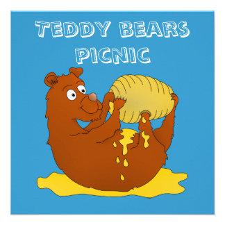 Convite do piquenique dos ursos de ursinho