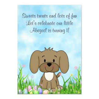Convite do primeiro aniversario do cão e dos ovos