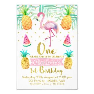 Convite do primeiro aniversario do flamingo da