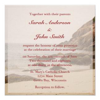 Convite do quadrado do casamento de praia - praia