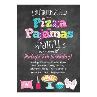 Convite do quadro da pizza e do partido de pijamas