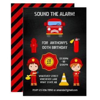 Convite do quadro do aniversário do bombeiro
