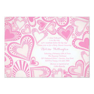 Convite do rosa do montagem do coração convite 12.7 x 17.78cm