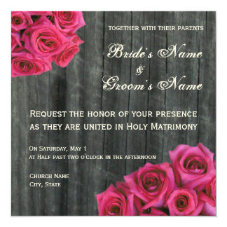 Convite do rosa do rosa quente e do casamento de convite quadrado 13.35 x 13.35cm
