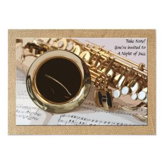 Convite do saxofone e da partitura convite 12.7 x 17.78cm
