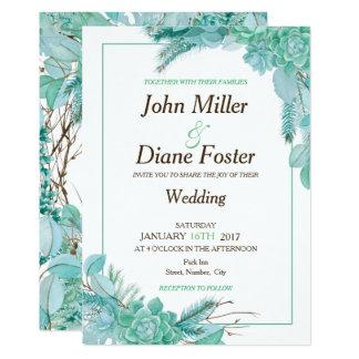 Convite do Succulent e do casamento do eucalipto