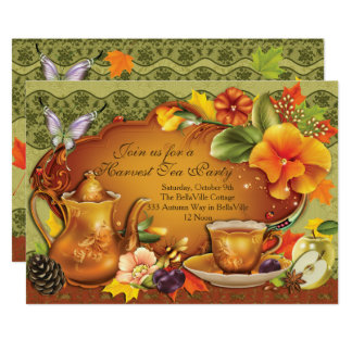 Convite do tea party da colheita do outono da