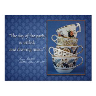 Convite do tea party de Jane Austen Cartões Postais