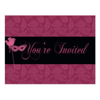 Convite do teatro do mascarada cartão postal