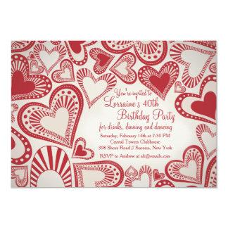 Convite do vermelho do montagem do coração convite 12.7 x 17.78cm
