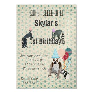 Convite do vintage do aniversário dos Lemurs