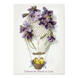Convite do vintage do balão dos lírios de páscoa