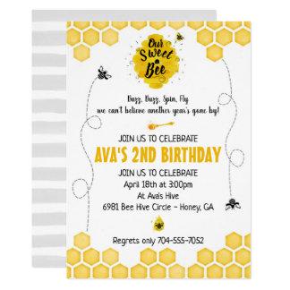 Convite doce do aniversário da abelha