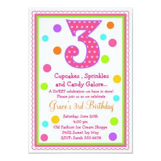 Convite doce do aniversário de 3 anos da surpresa