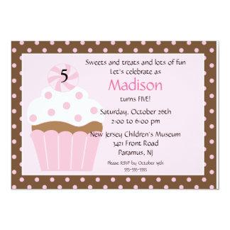 Convite doce do aniversário do cupcake convite 12.7 x 17.78cm