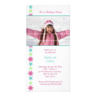 Convite dos cartões de fotos do aniversário do flo cartão com foto