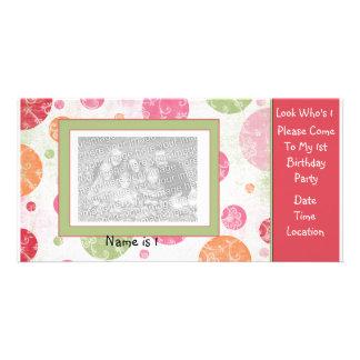 Convite dos cartões de fotos do primeiro aniversar cartão com foto
