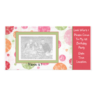Convite dos cartões de fotos do primeiro aniversar cartão com fotos personalizado
