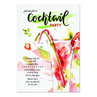 Convite dos cocktail da aguarela