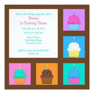 Convite dos cupcakes 5.25x5.25 das meninas