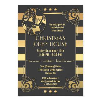 Convite dos feriados do Natal de Gatsby do ouro do