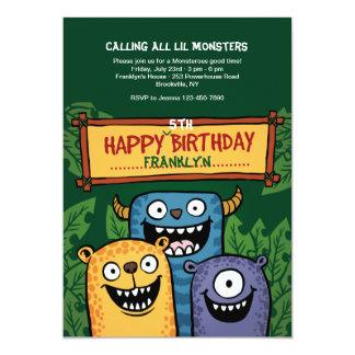 Convite dos monstro do aniversário