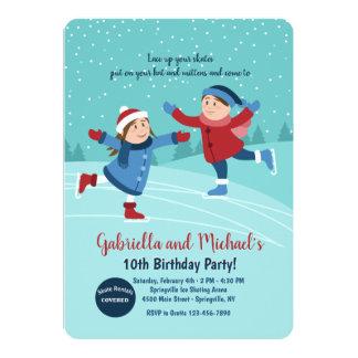 Convite dos patinadores de gelo do menino e da
