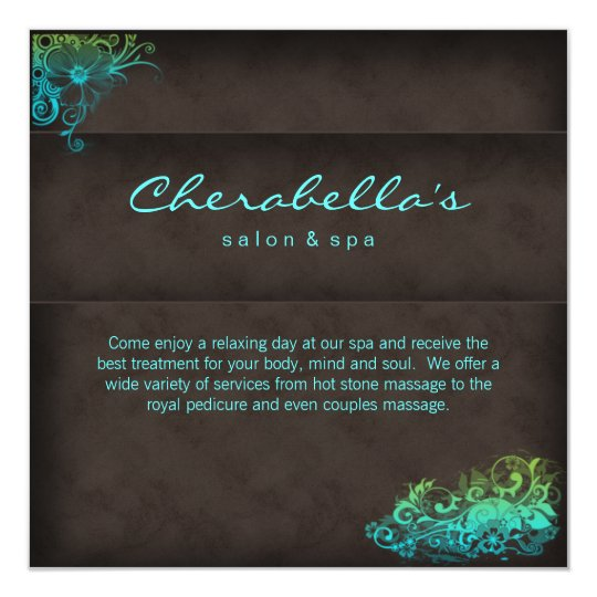 Convite dos termas do salão de beleza - verde azul