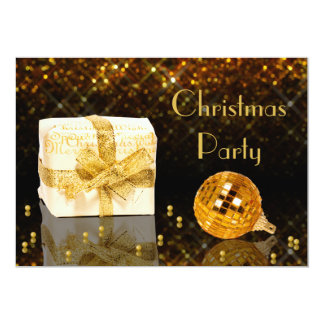 Convite dourado Sparkling da festa de Natal