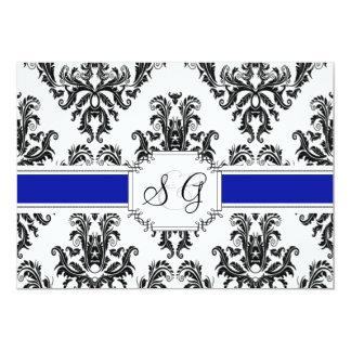 Convite elegante antigo do casamento dos azuis