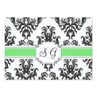 Convite elegante antigo verde do casamento