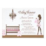 Convite elegante cor-de-rosa do chá do bebé do convite 12.7 x 17.78cm