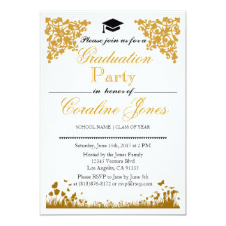 Convite elegante da festa de formatura do damasco