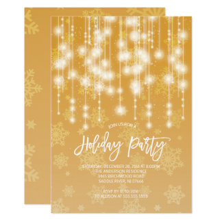 Convite elegante da festa natalícia da luz do ouro