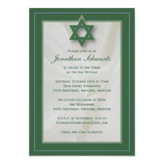 Convite elegante de Mitzvah do bar do tecido no