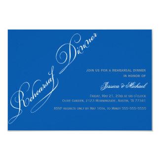 Convite elegante do azul do jantar de ensaio
