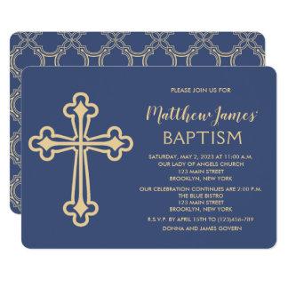 Convite elegante do baptismo do ouro para meninos
