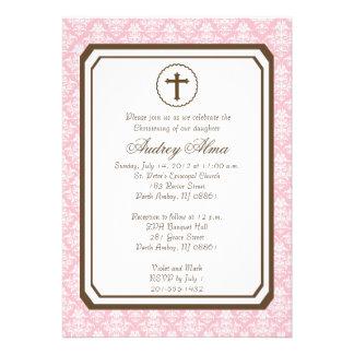 Convite elegante do batismo da menina - rosa