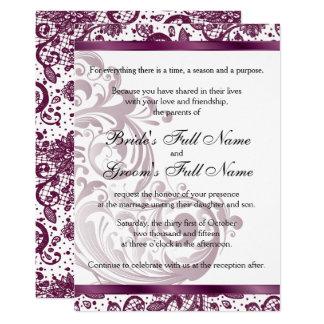 Convite elegante do casamento - 5x7 roxo convite 12.7 x 17.78cm