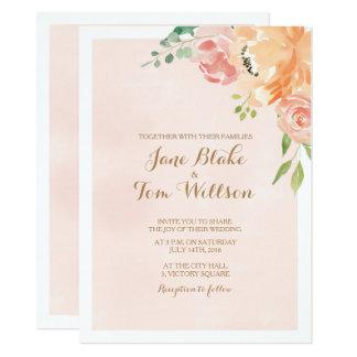 Convite elegante do casamento da aguarela da flor