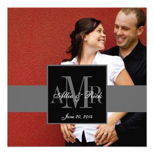 Convite elegante do casamento da foto do casal do