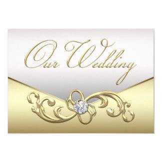 Convite elegante do casamento da prata e do ouro