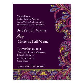Convite elegante do casamento de Paisley da ameixa