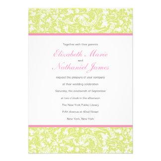 Convite elegante do casamento de Toile no rosa e n