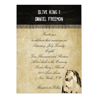 Convite elegante do casamento do cavalo branco