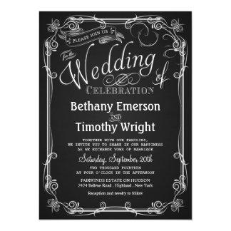 Convite elegante do casamento do quadro convite 13.97 x 19.05cm