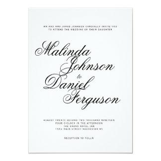 Convite elegante do casamento do roteiro